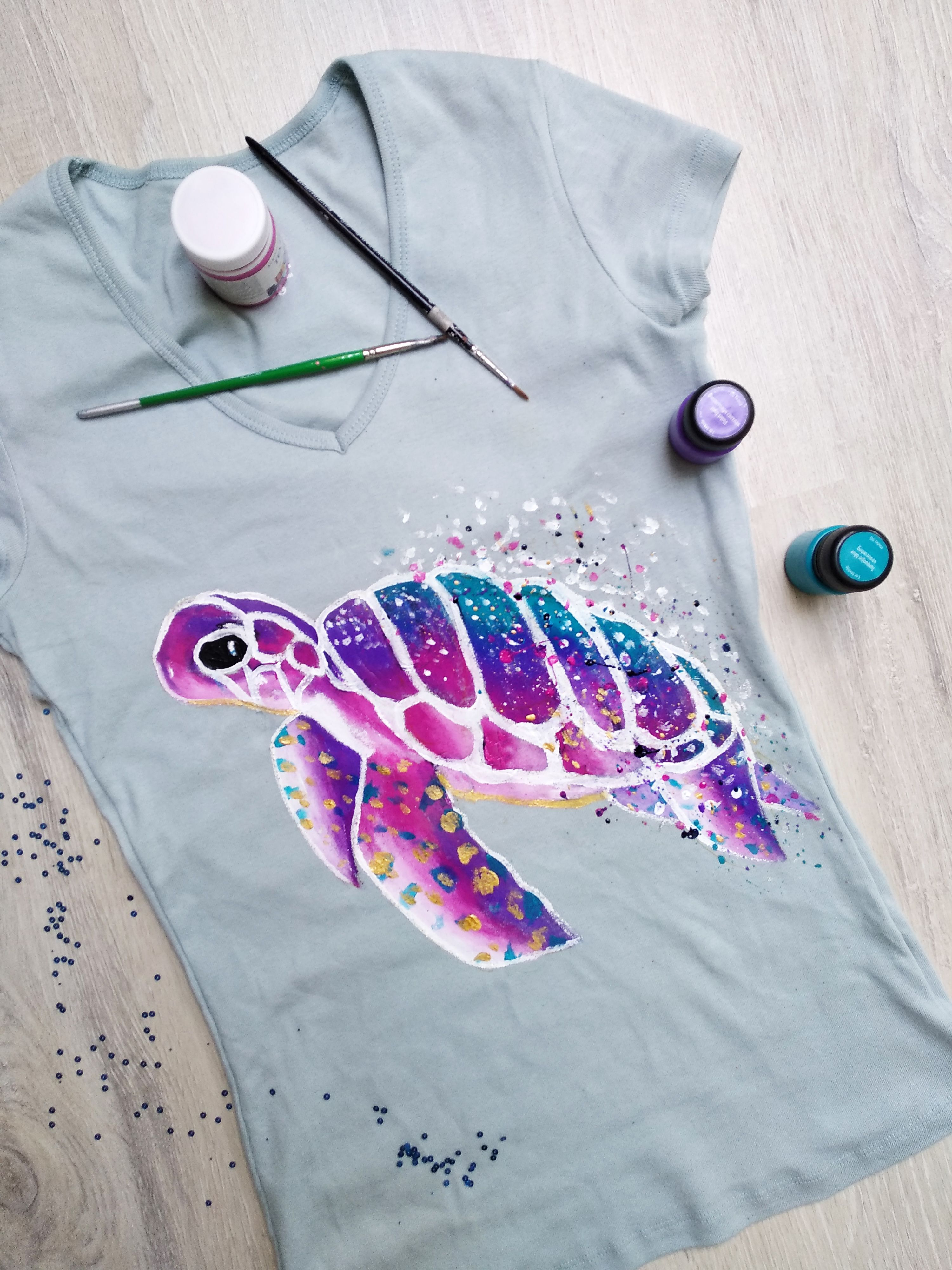 Acrylic painting on tshirt fabric painting techniques