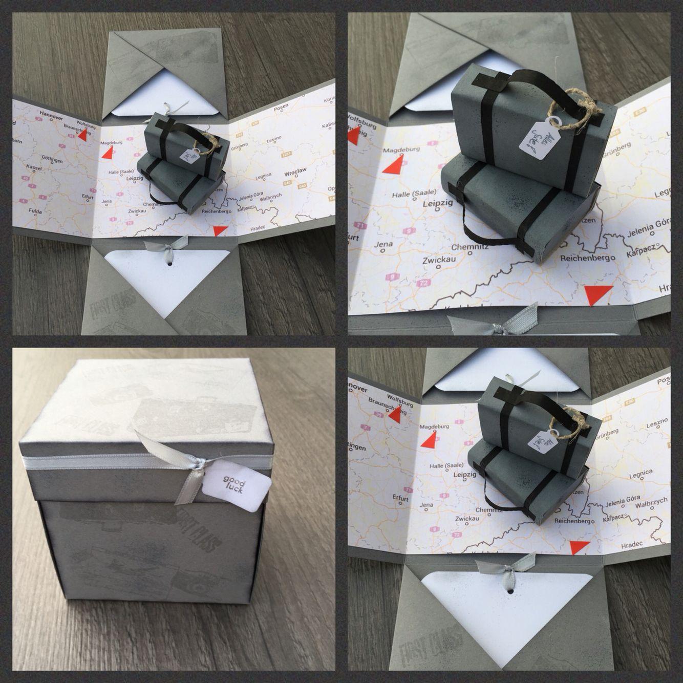 Abschiedskarte Kollege Explosion Box Hochzeit Karte Koffer suitcases