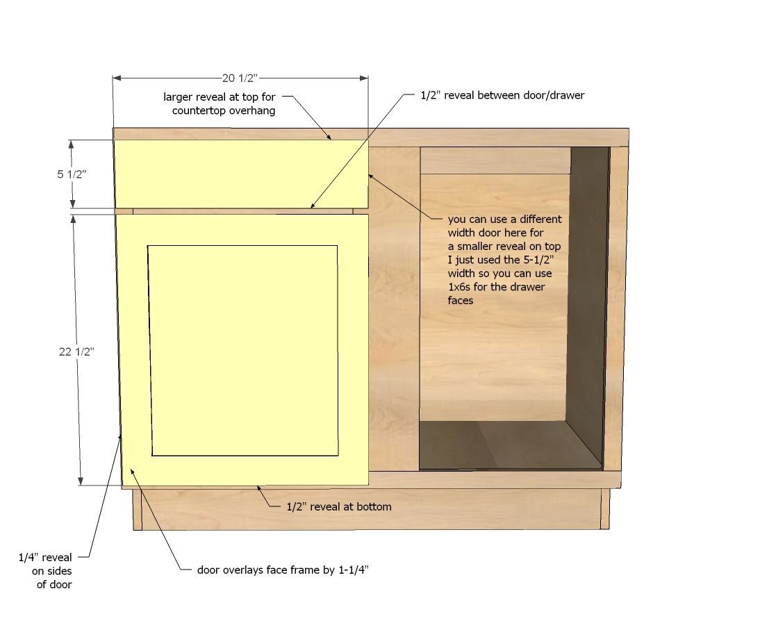 "Free Base Cabinet Plans: Build A 42"" Base Blind Corner Cabinet"