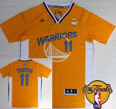 Golden State Warriors #11 Klay Thompson Revolution 30 Swingman Yellow Short-Sleeved Jersey