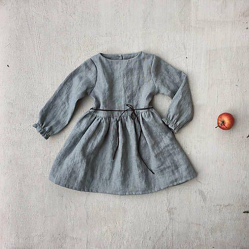 518ae68eb66a Detské ľanové šaty s koženou šnúrkou   SIMPLY GREY - SAShE.sk ...