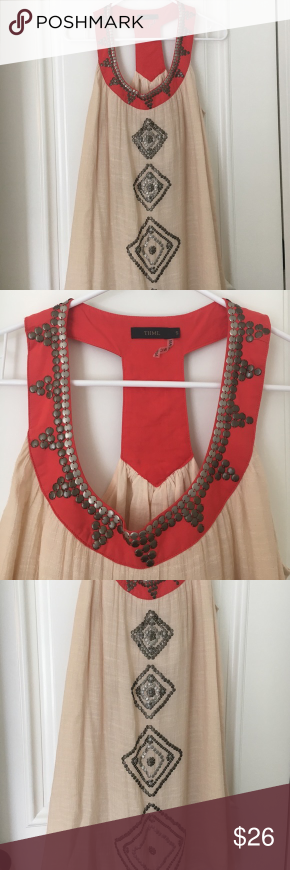 Halter dress THML Metal studded THML dress cream linen color with coral trim 55% cotton 45% polyester THML Dresses