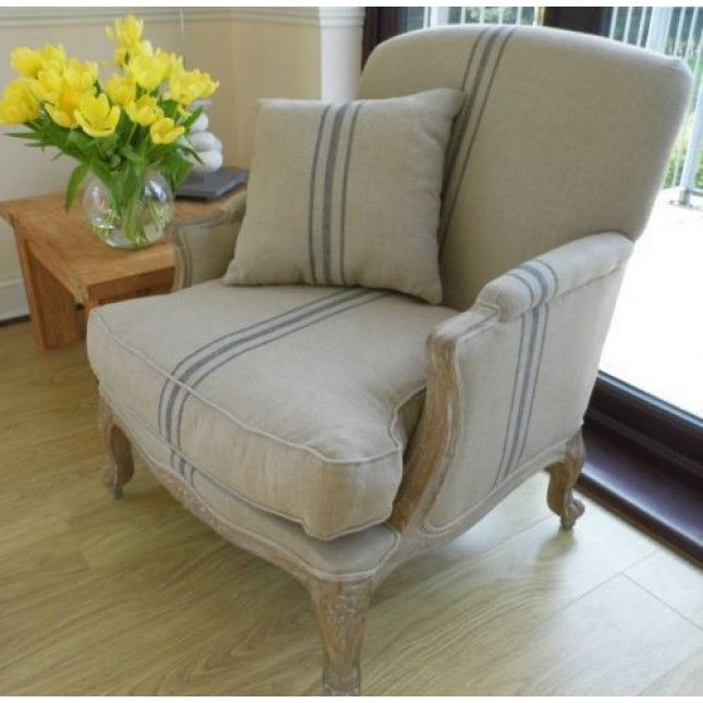 American Oak Beaumont Stripe Grey Wash Sofa Chair Sustainable Furniture