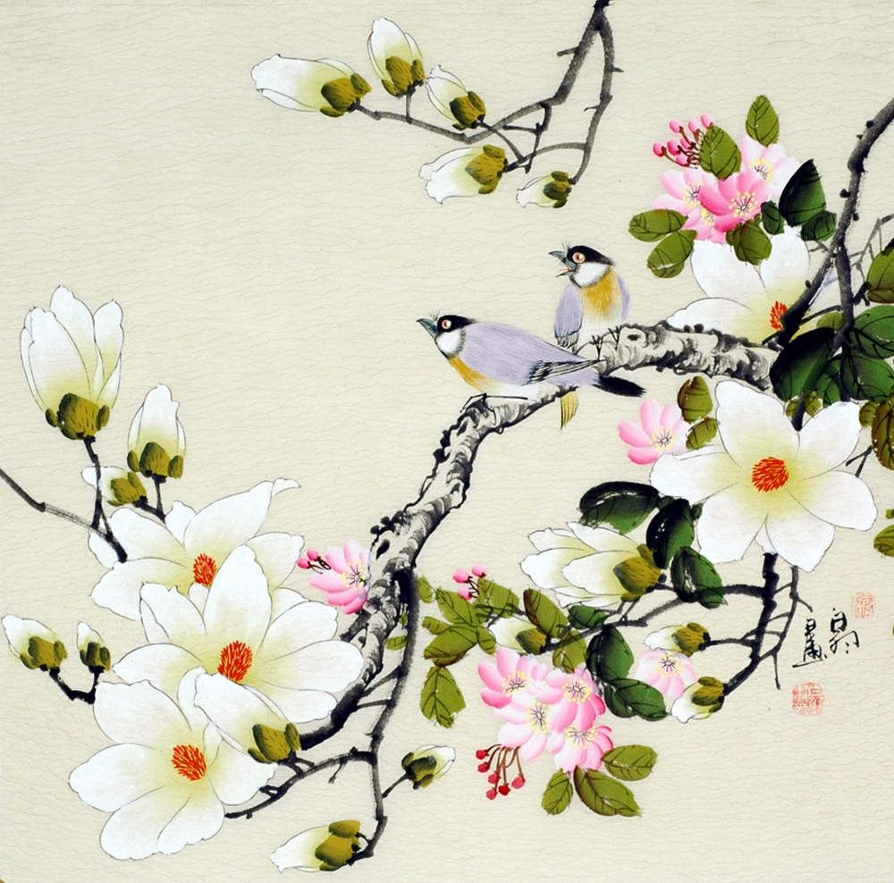 Birds And Magnolia Chinese Painting Flowers Oriental Art Flower Painting