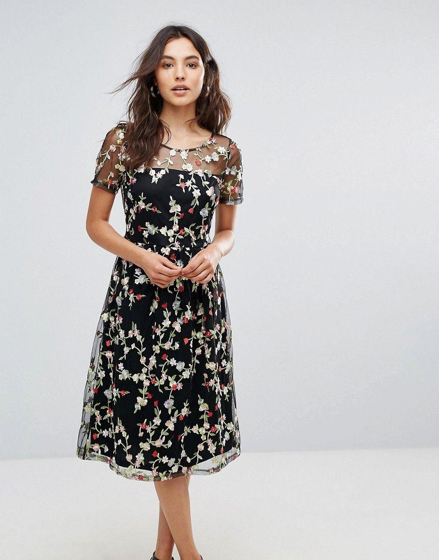 6e0e94ccef74 Liquorish Floral Embroidered Midi Dress with Sheer Sleeves - Black ...