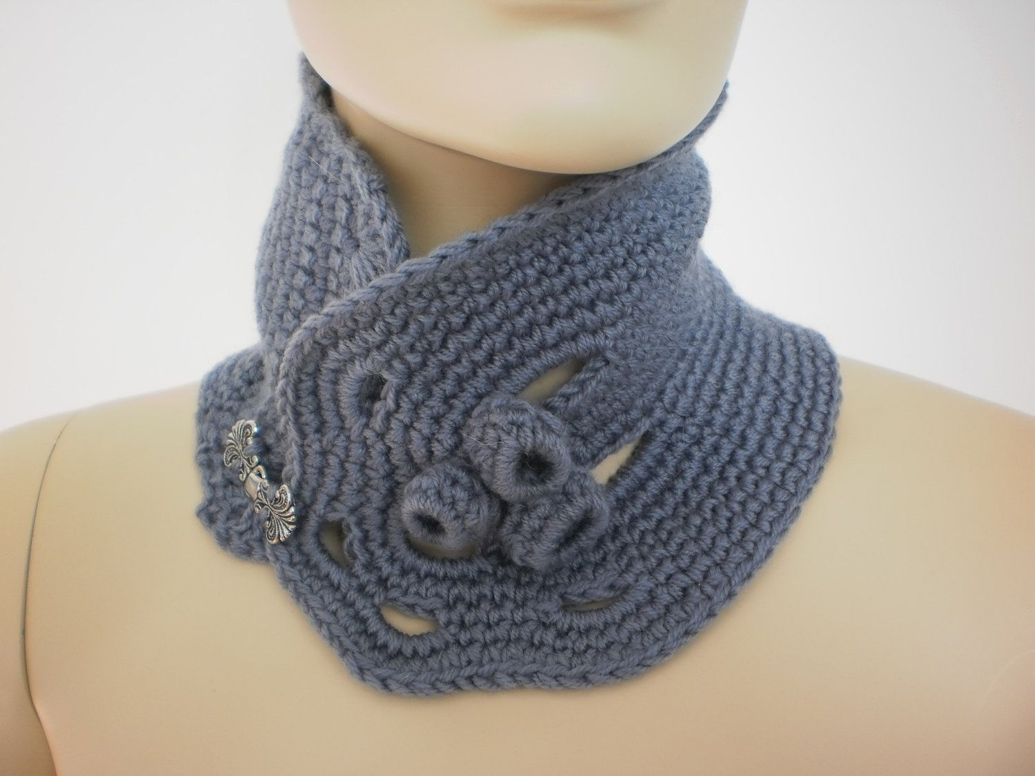 crochet shawl patterns with buttons | Crochet Grey Scarf Neck warmer ...