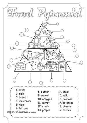 Good activity to work food and healthy - ESL worksheets | Kids ...