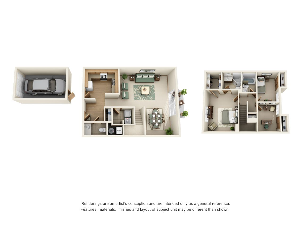 . 2   3 Bedroom Apartment Homes for Rent   Hilliard Park  hilliard