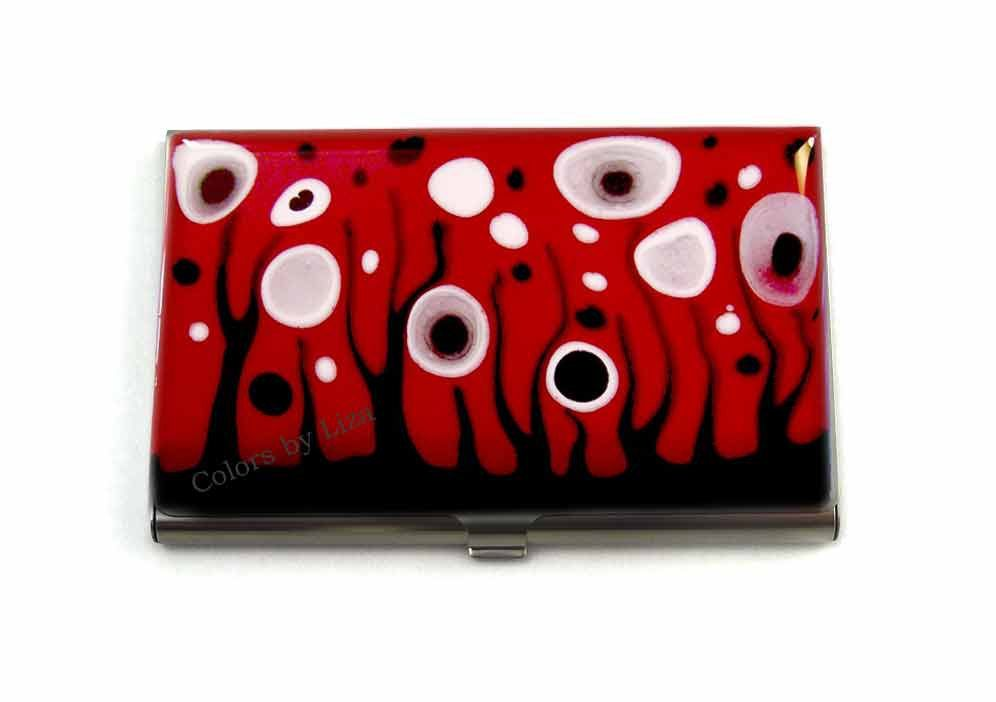 Business card case hand painted enamel red black white id case new to colorsbyliza on etsy business card case metal wallet red black and white id case hand painted credit card holder glossy enamel finish 4800 usd colourmoves