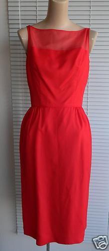 1960's Red Chiffon Taffeta Cocktail Dress w Small Back Drape | eBay