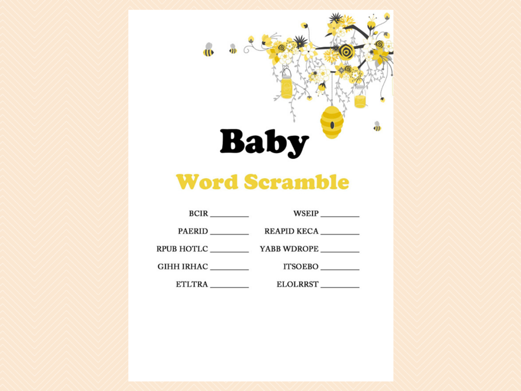 Printable Bee Theme Baby Shower Games Bumble Honey