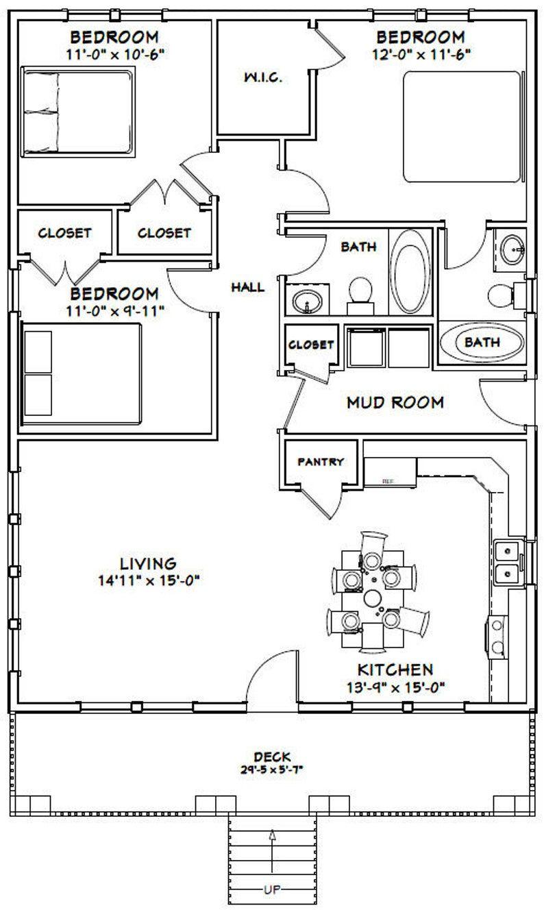 30x40 House 3 Bedroom 2 Bath 1 200 sq ft PDF Floor Plan Instant Download Model 2