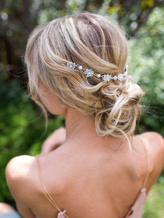 Vintage Style Bridal Hair Chain Comb, Hair Wrap, Grecian Headpiece, Draped Hair Comb, Floral Wedding Hair Comb, Hair Wreath - 'HELENA' #hairchains
