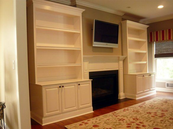 shallow fireplace with bookcases   Home... Fireplace ...