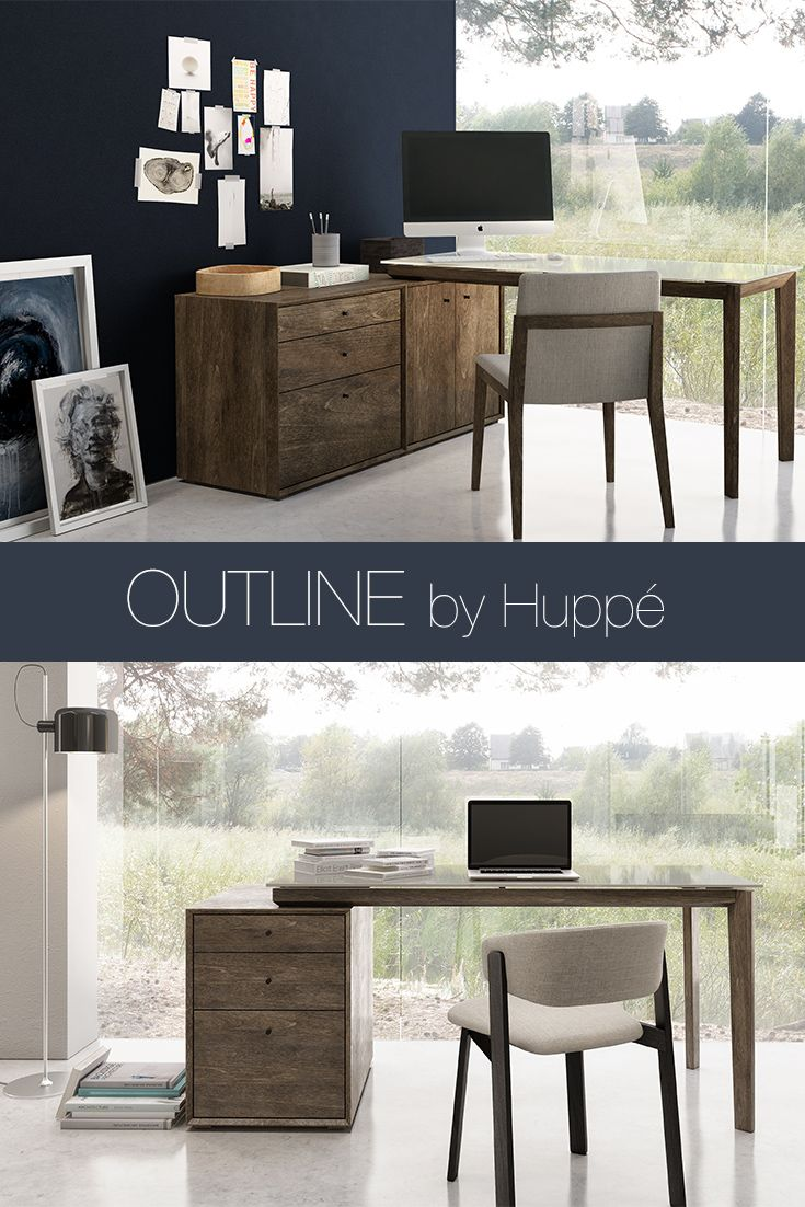 The outline desk and storage by huppé is modern and contemporary includes two storage units and a work table