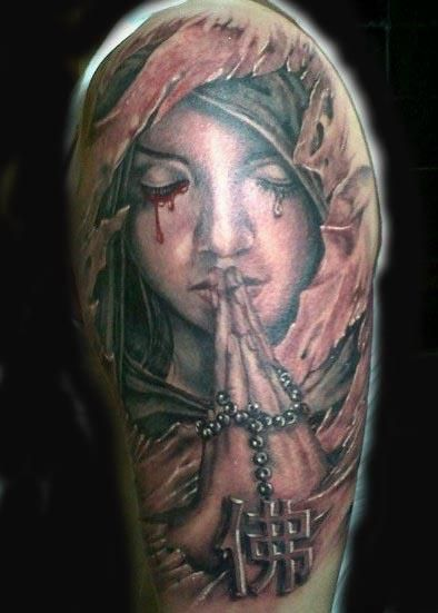Attractive Praying Angel Tattoo On Left Half Sleeve Tattoo