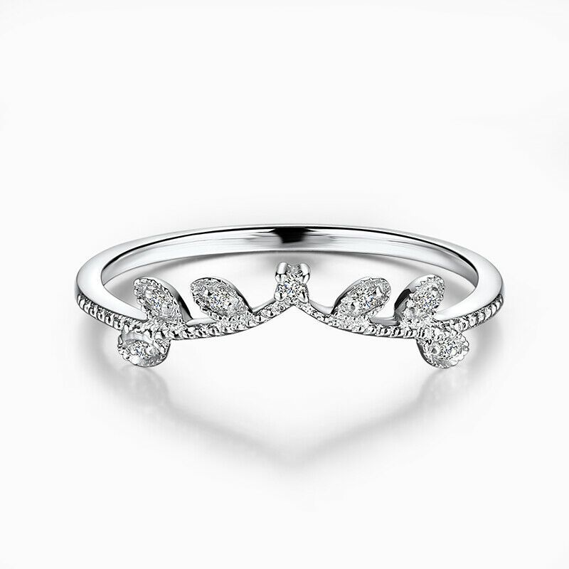 Solid 10k White Gold Engagement Real Diamonds Band Leaf Shape Ring Fine Jewelry Ebay In 2020 Diamond Engagement Band Natural Diamond Engagement Diamond Anniversary Bands