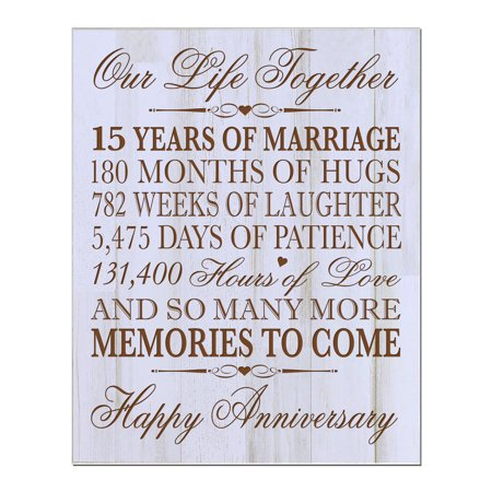 15th Wedding Anniversary Wall Plaque Our Life Together