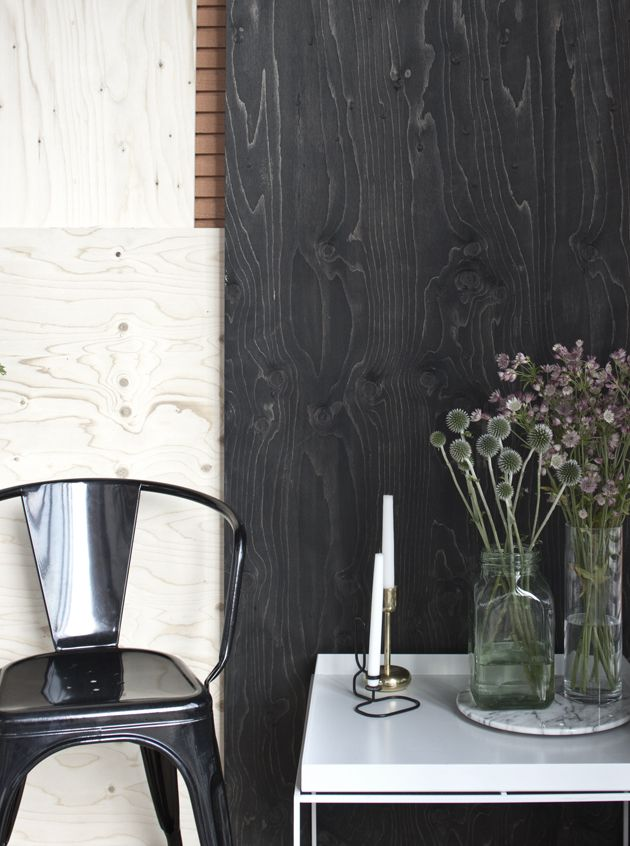 Black stained plywood  Materials in 2019  Plywood walls