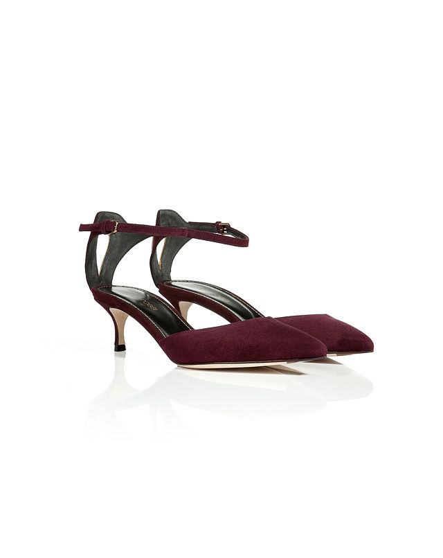 Rendered in rich wine suede, these sleek slingbacks from Sergio Rossi feature a gilded back detail for a touch of glamour #Stylebop