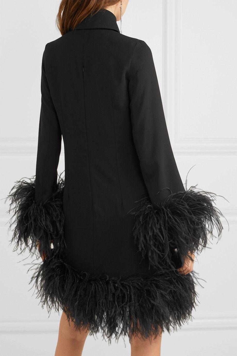 16arlington Michelle Feather Trimmed Mini Dress Net A Porter Com Dresses Mini Dress Mini Black Dress [ 1380 x 920 Pixel ]