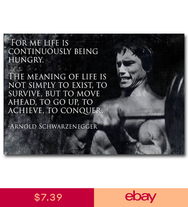 Arnold Schwarzenegger Inspirational Quote Art Canvas Poster Prints 8x12 24x36