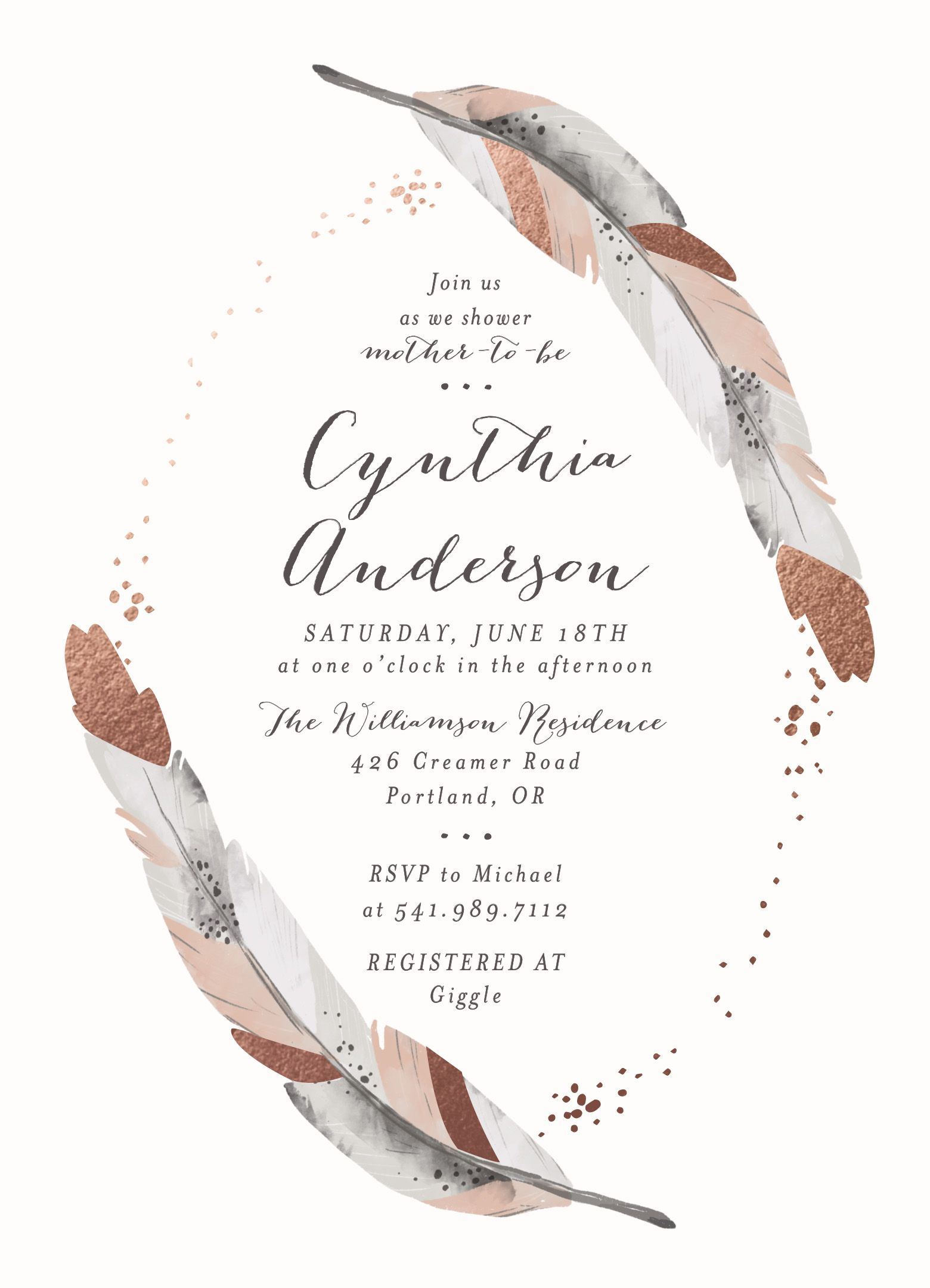 Bohemian feather design Baby shower invite Grey pink and rose