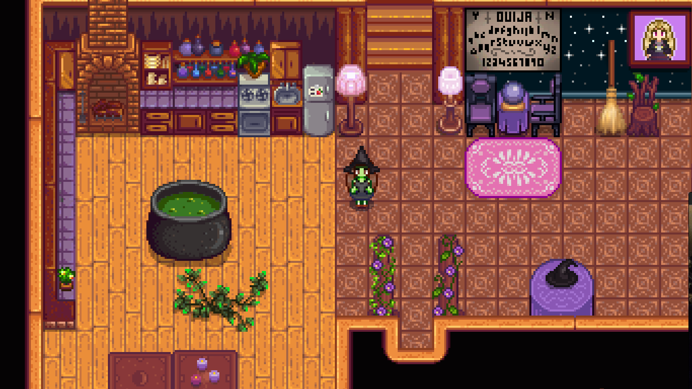 Witchy-Gothic Interior -furniture and farmhouse- at Stardew Valley