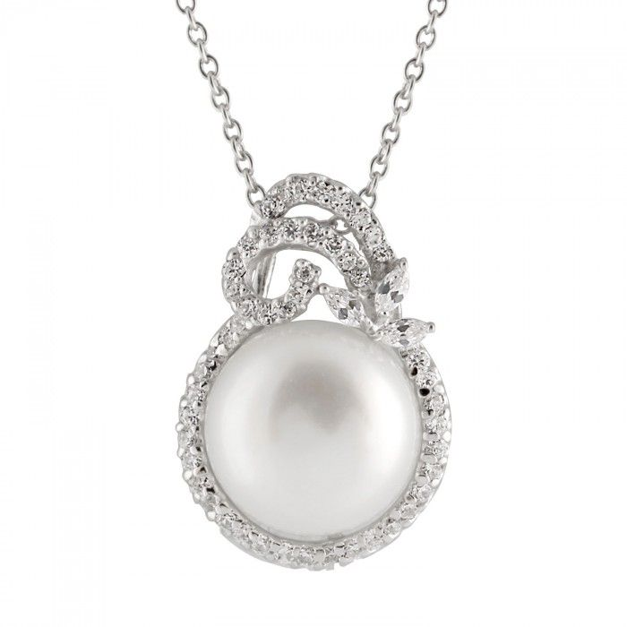 A fancy freshwater pearl pendant surrounded by CZs set in sterling silver.cultured freshwater pearls.Sterling Silver Rhodium Plated. .Pearl size:11-11.5mm
