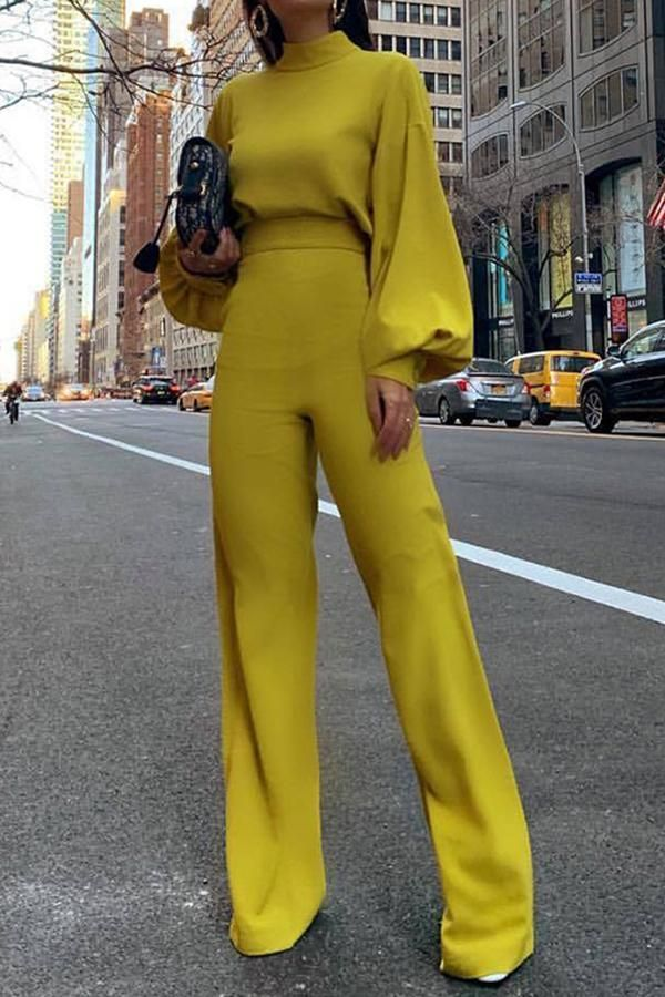 a5887ebf0a Fashion Bishop Sleeve Pure Colour Half Collar Jumpsuits in 2019 ...