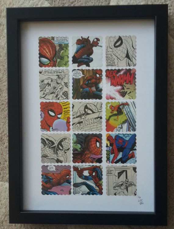 Recycled Comic Book 'Spiderman' Vintage Wall Art