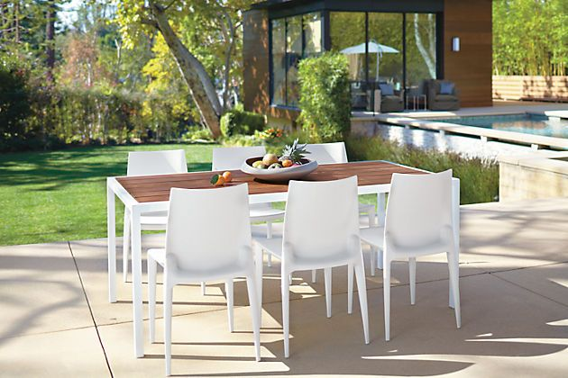 Wood Top & White Metal Frame Outdoor Dining Table   For the home ...