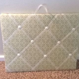 Green and white memory board....for sale on Etsy