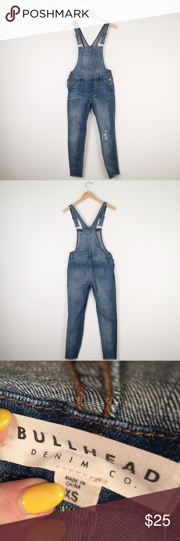 5c6f719b5d4 Bullhead Denim Skinny Overalls Distressed skinny overalls. So cute with a  crop top for summer