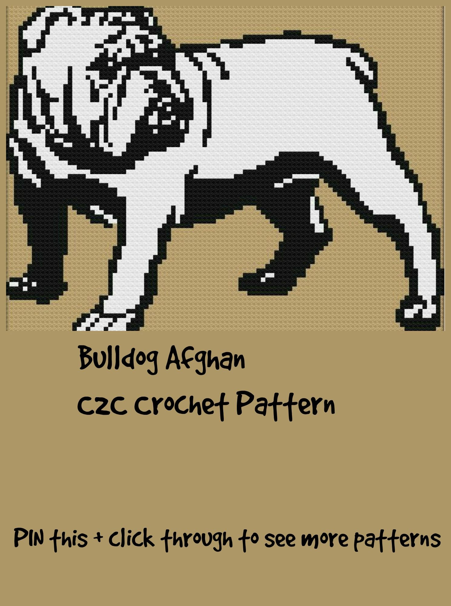 Bulldog Blanket, C2C Crochet Pattern, Written Row Counts