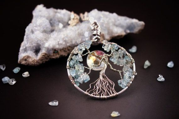Wire wrapped tree of life necklace - Aquamarine gemstone pendant - March birthstone - Statement necklace - Healing jewelry - Gift for wife