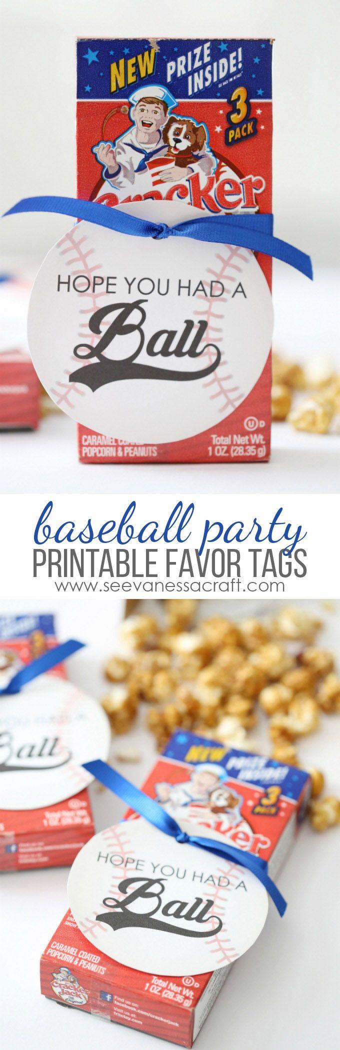 Baseball Birthday Party Favor Tags | Baseball party favors, Baseball ...
