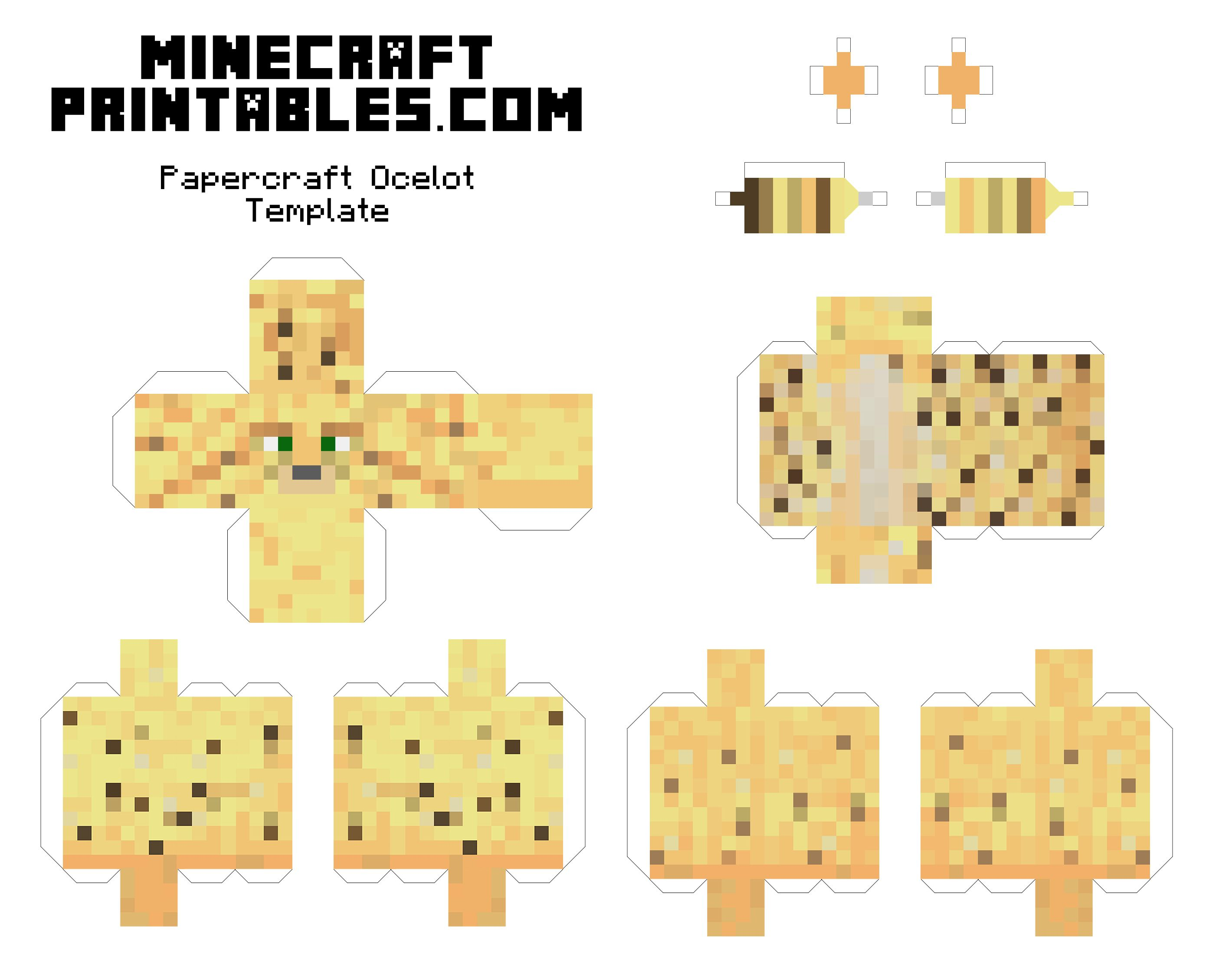 Free printable minecraft ocelot papercraft template print for Minecraft cut out templates