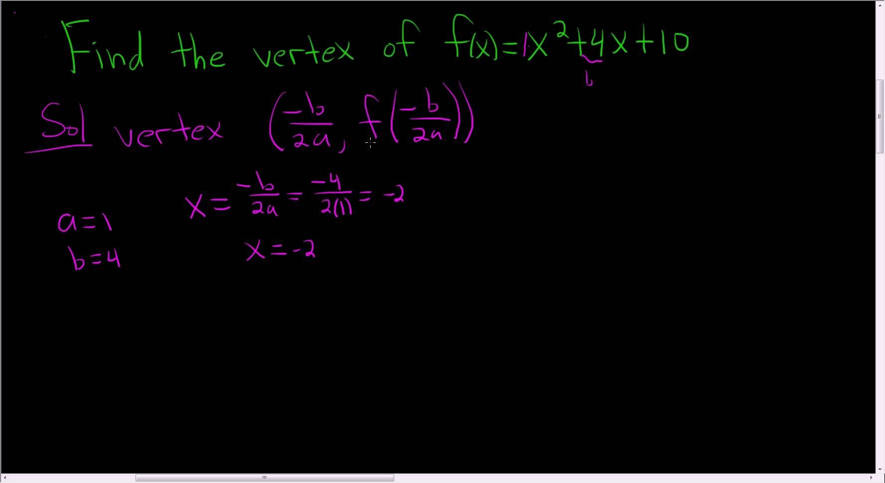 Finding the vertex of a parabola using the formula maths
