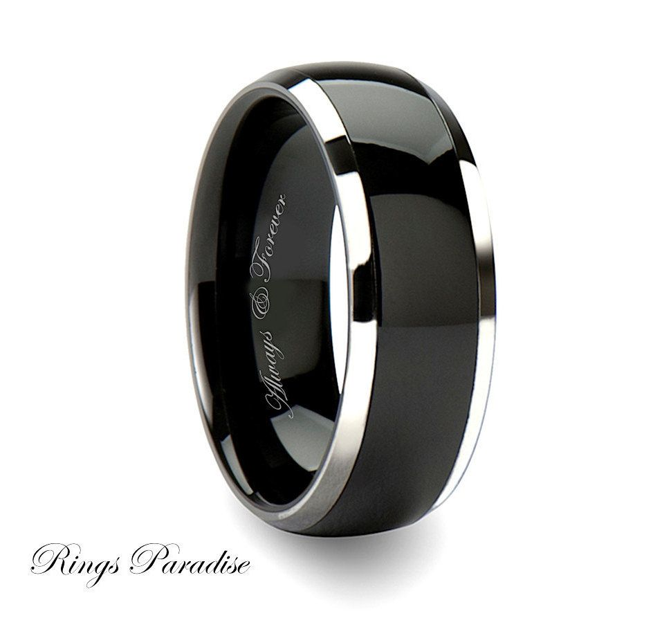 Black tungsten band 10mm ring engagement rings tungsten