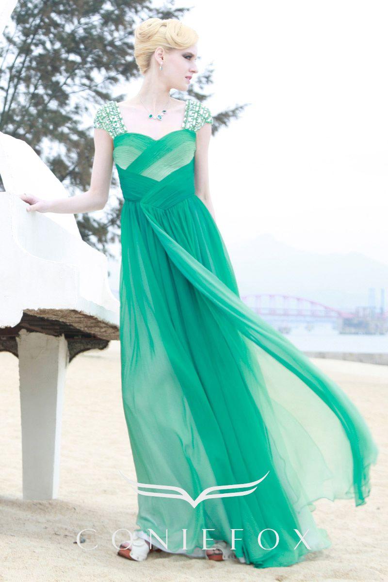 Coniefox green long party dress prom dress d r e s s e s