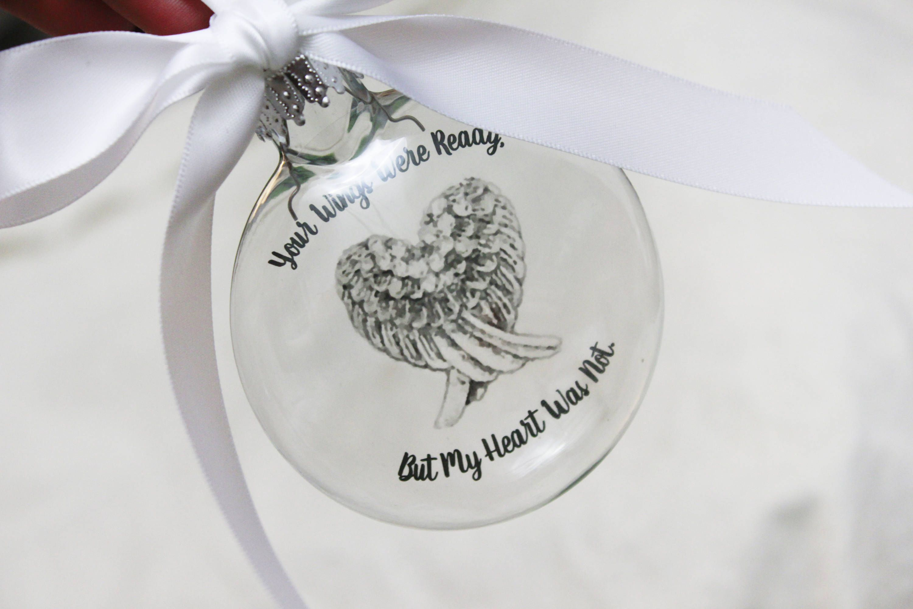 In Memory Christmas ornament, Memorial ornament, your wings were ...