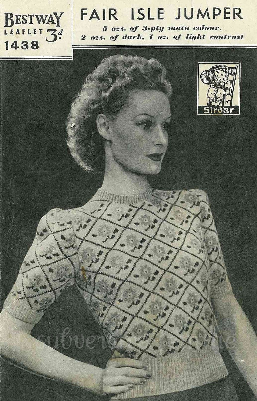 Free Vintage Knitting Patterns 1940s : Land Girl Fair Isle Jumper from WWII, c. 1940s - vintage knitting pattern PDF...