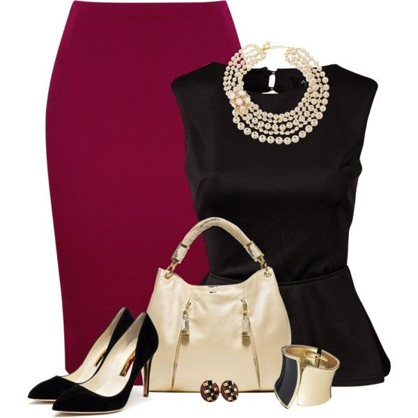 A fashion look from August 2013 featuring polyester shirt, pencil skirt and high heel pumps. Browse and shop related looks.