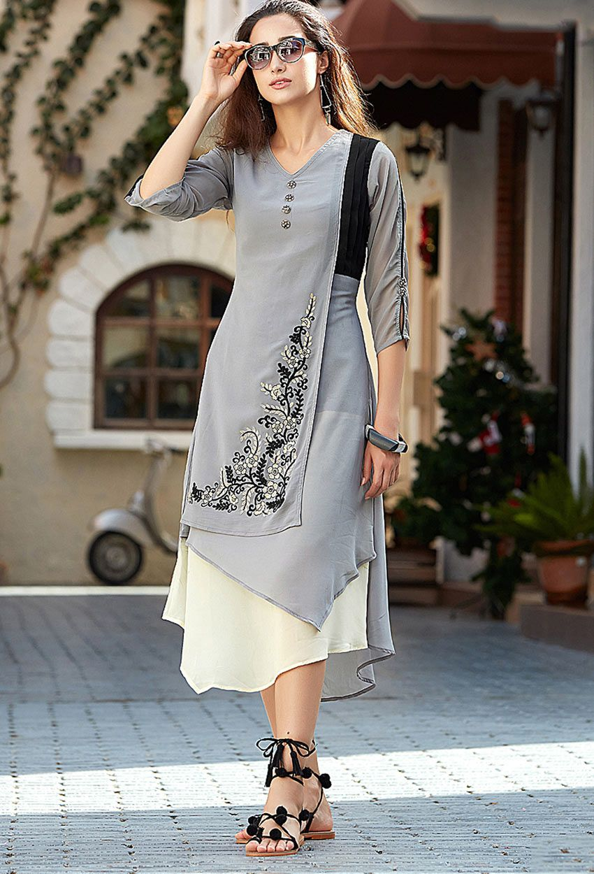 c936fb0ffe Shop readymade gray georgette stylish tunic , freeshipping all over the  world , Item code kucjf61
