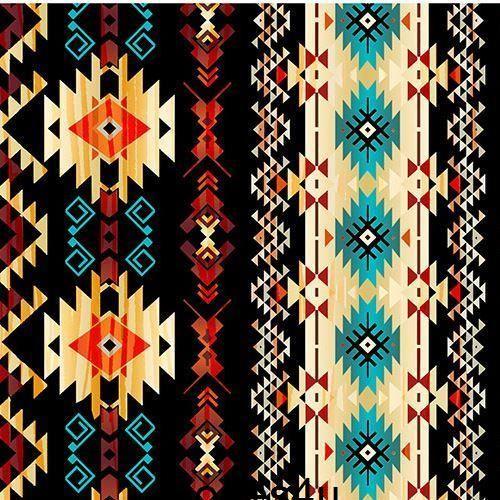 Black Brown Orange Shape Pattern Fabric Timeless Treasures Native American Symbols Horse Quilt Native American Patterns