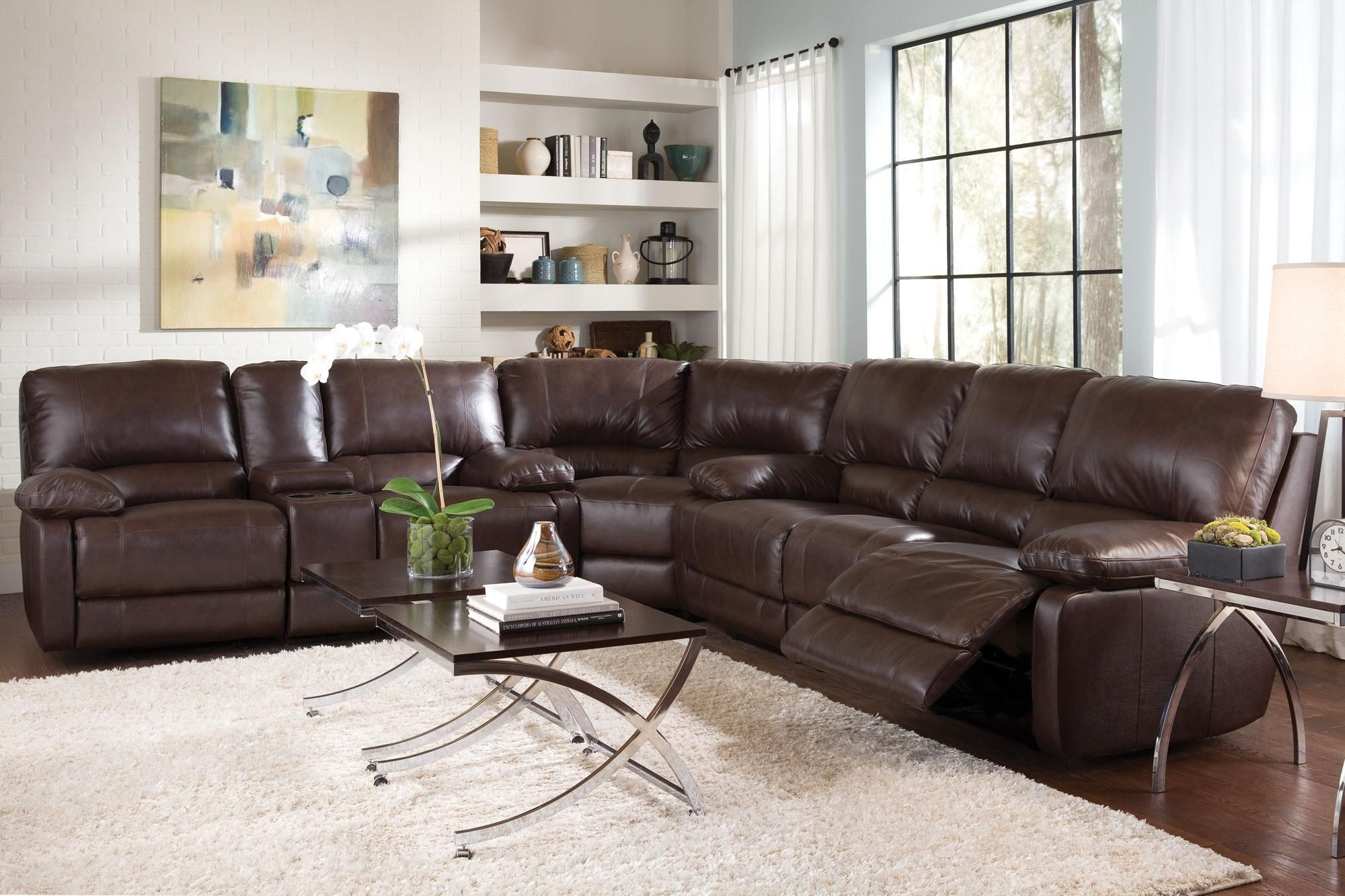 With Style And Comfort In Mind The Geri Cognac Brown Leather Sectional I Sectional Sofa With Recliner Leather Sectional Sofas Leather Reclining Sectional Sofa