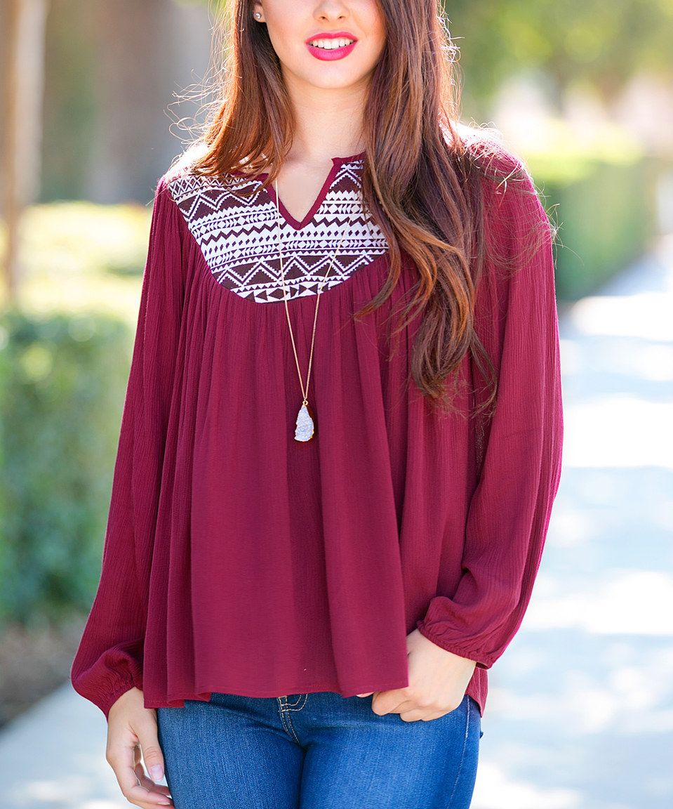 Look what I found on #zulily! Sawyer Cove Burgundy Cecily Peasant Top by Sawyer Cove #zulilyfinds