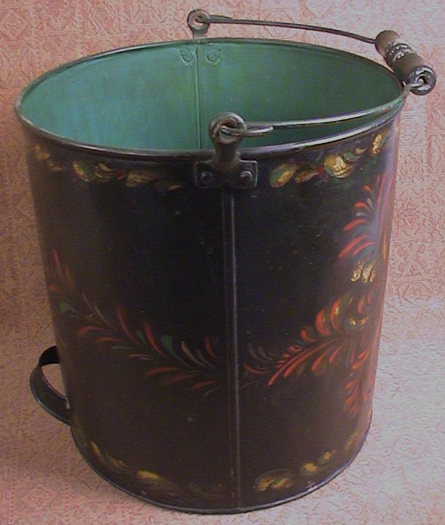 Peter Ompir Folk Art Hand Painted Large Metal Bucket With