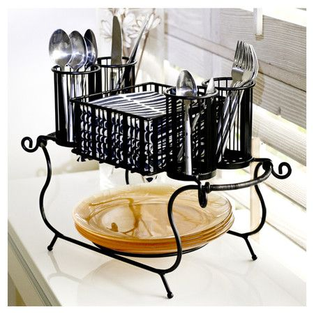 2 Piece Delaware Buffet Caddy Set Wrought Iron Utensil And Plate Cads Great For Parties
